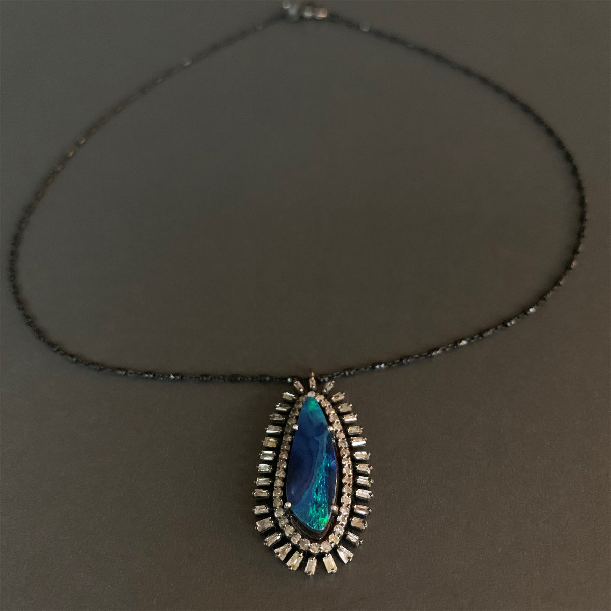 She's Bolder and Wiser Now (opal and diamonds necklace)