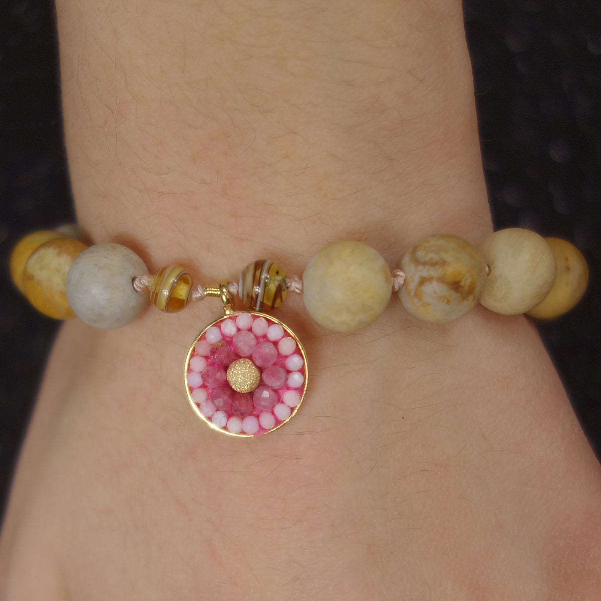 Fossil Coral and Pink Sapphire mosaic bracelet