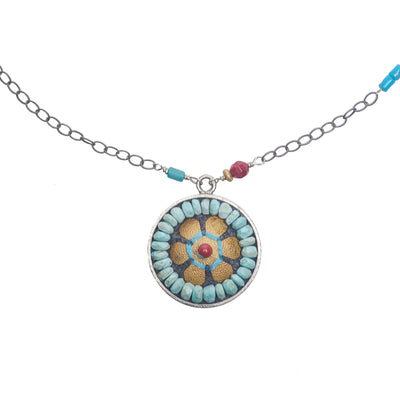 Wanderlust turquoise, gold, and coral mosaic pendant necklace (Santa Fe)
