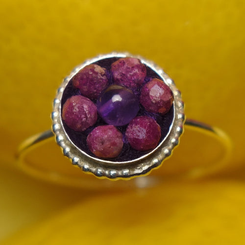 Raspberry Beret ruby and amethyst ring