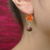 Sunshine on a Rainy Day: carnelian, ruby, pyrite earrings