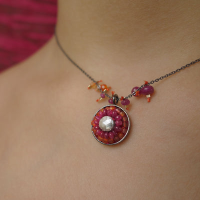 Sunrise, Sunset silverite, ruby, and carnelian necklace