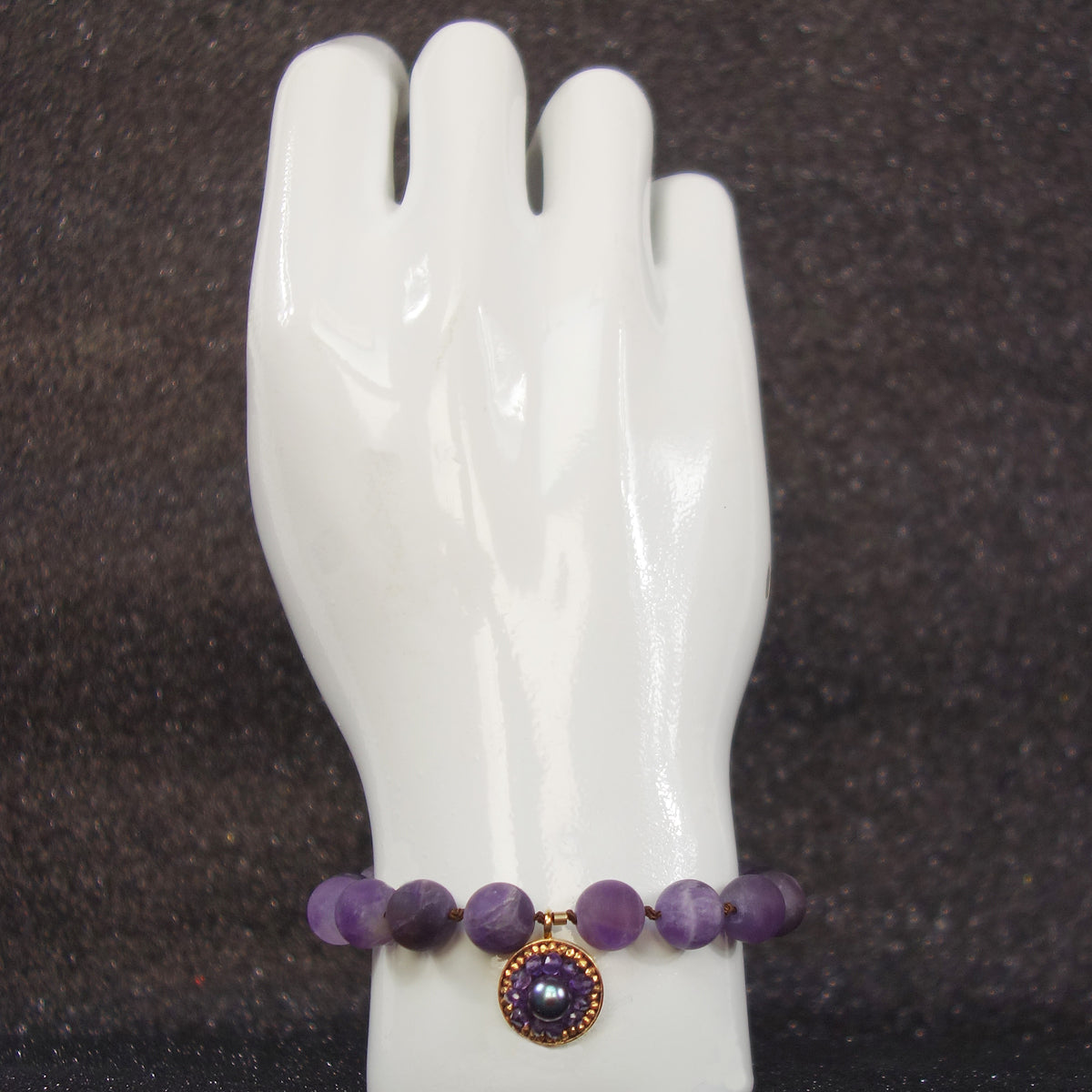 Amethyst and Gold mosaic bracelet