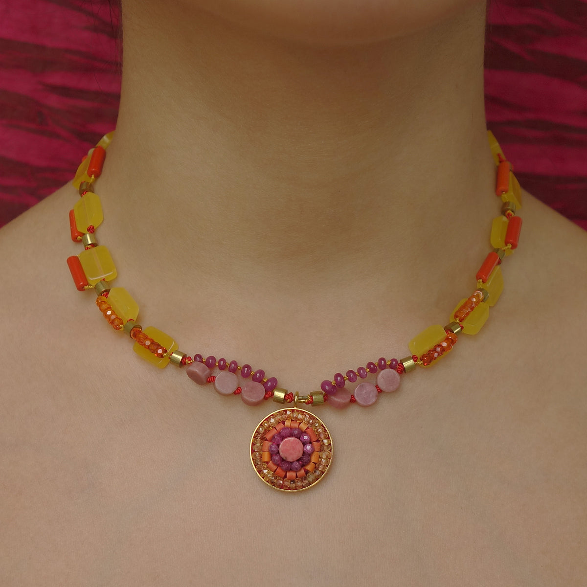 Sunshine on my Shoulders Looks so Lovely mosaic necklace