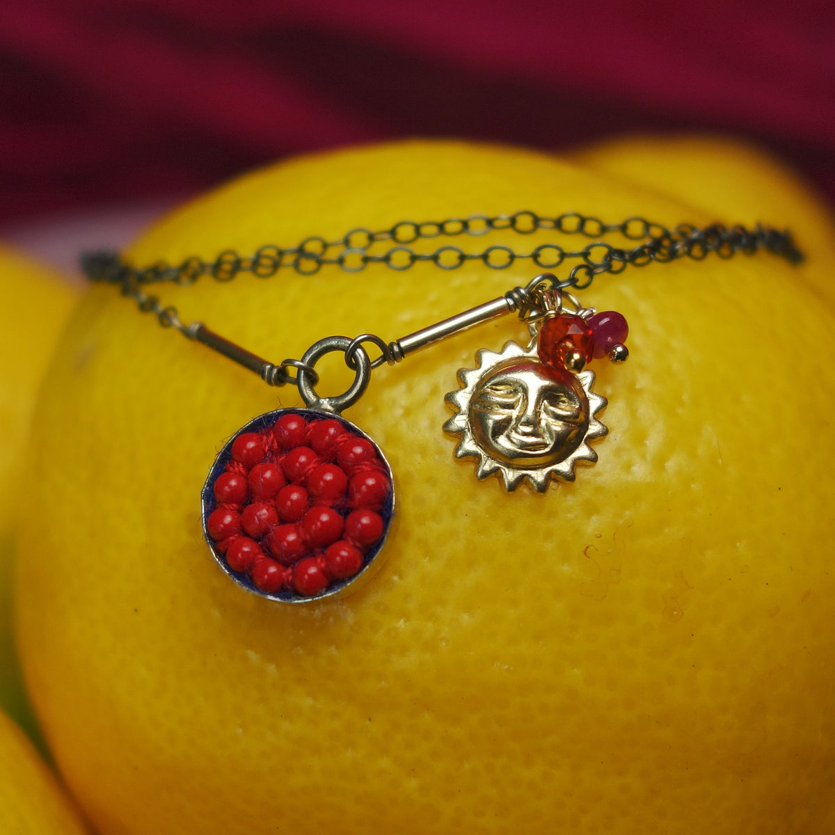 She's Walking on Sunshine: coral and gold mosaic necklace