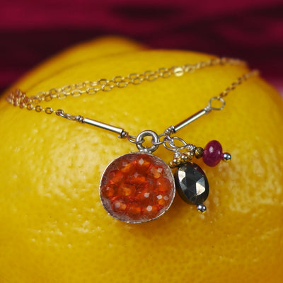 Carnelian, pyrite, and ruby mosaic necklace