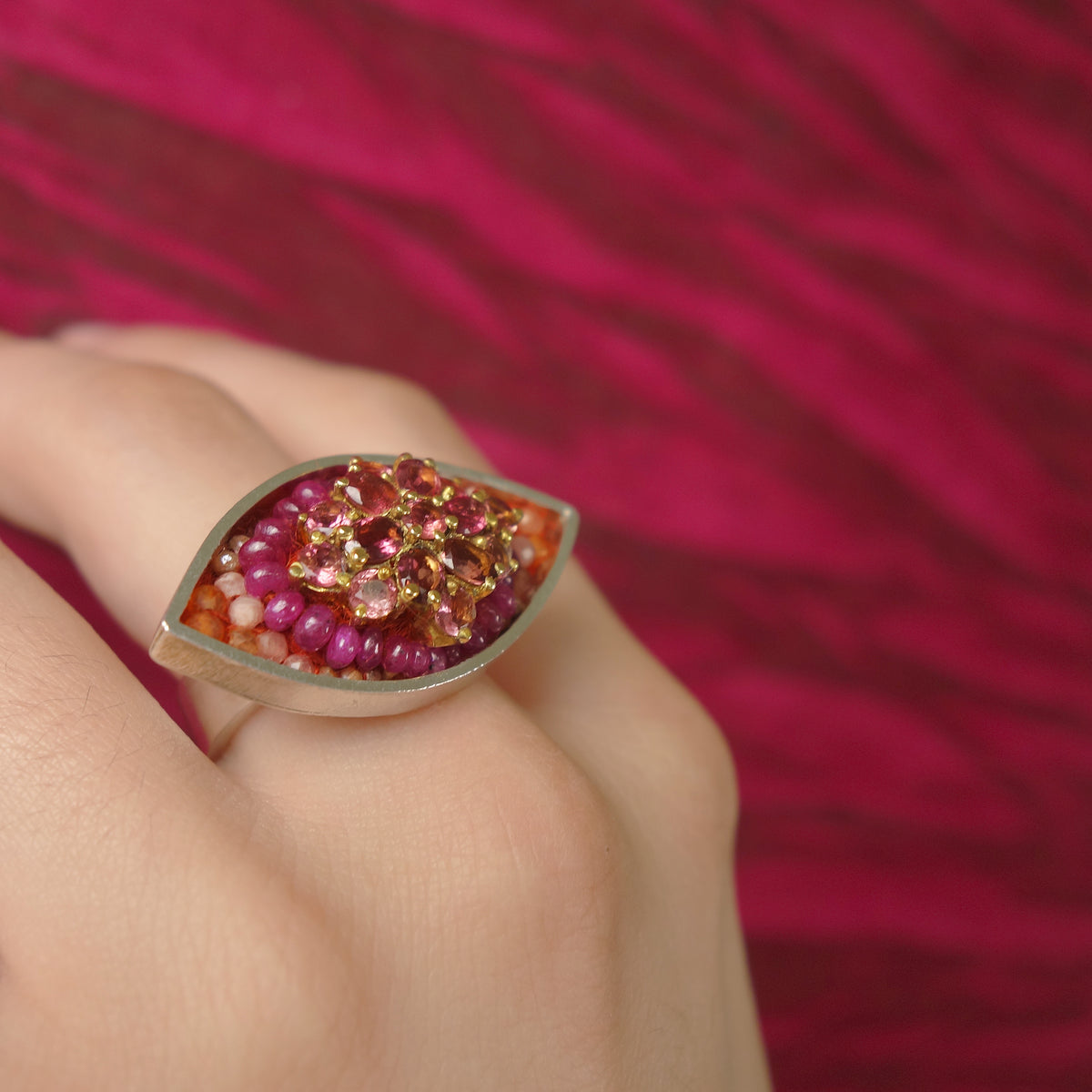 You are the Sunshine of my Life: tourmaline and ruby mosaic ring