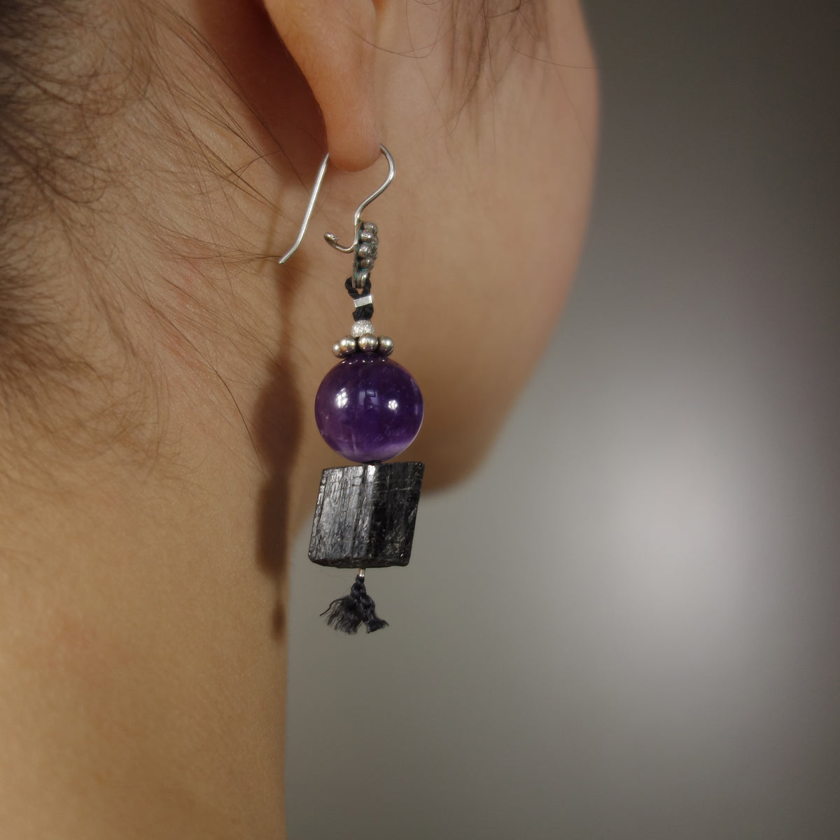 Amethyst and Raw Tourmaline ear