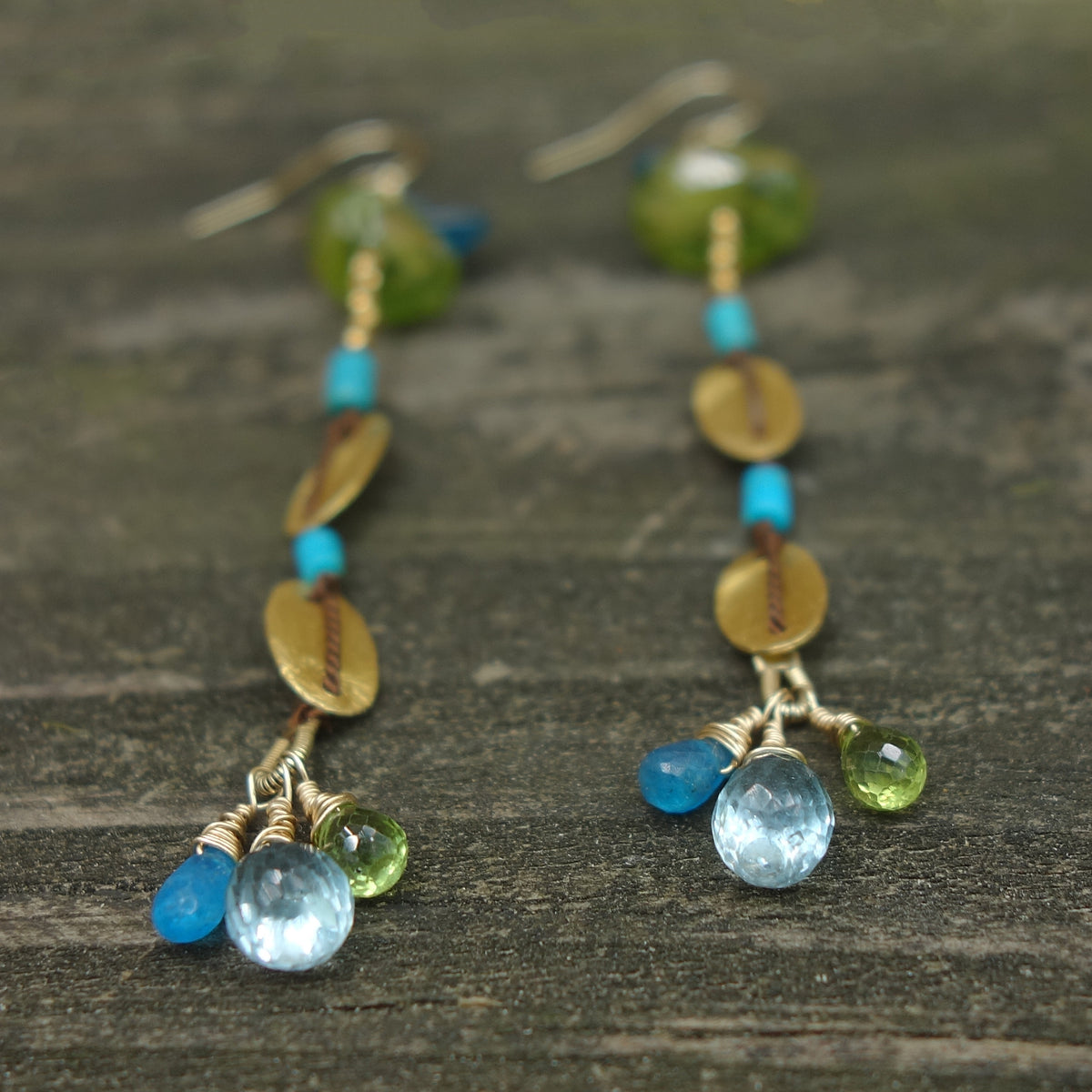 Fearless: apatite, peridot, turquoise, gold