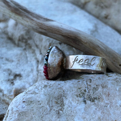 FEEL BEAUTIFUL Engraved Pearl and Ruby ring