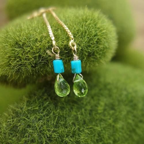 Katmandu: peridot and gold thread earring
