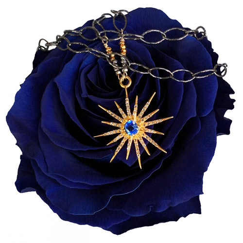 Sunburst: Blue Sapphire and Diamonds