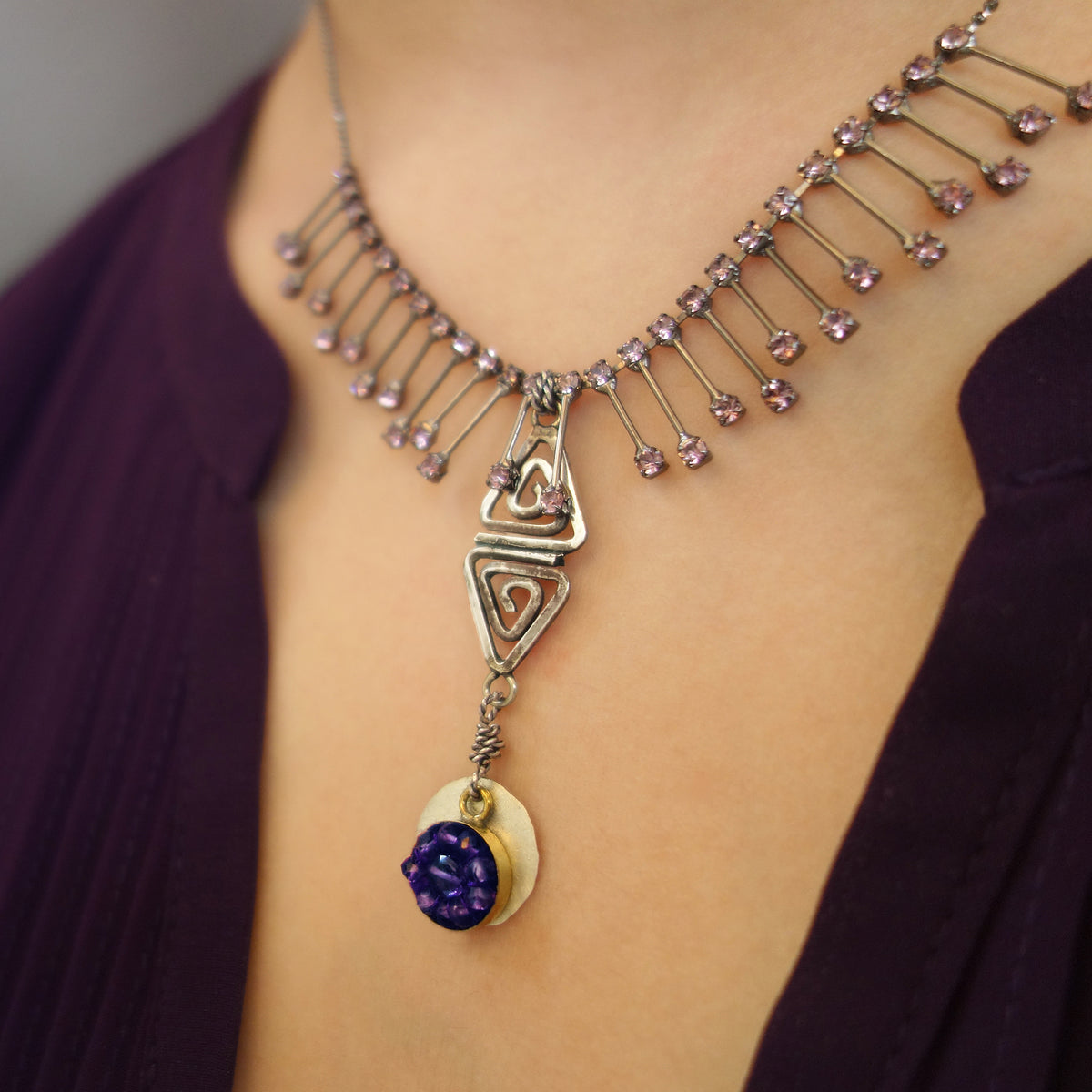 The Sun Rises at Dawn amethyst mosaic necklace