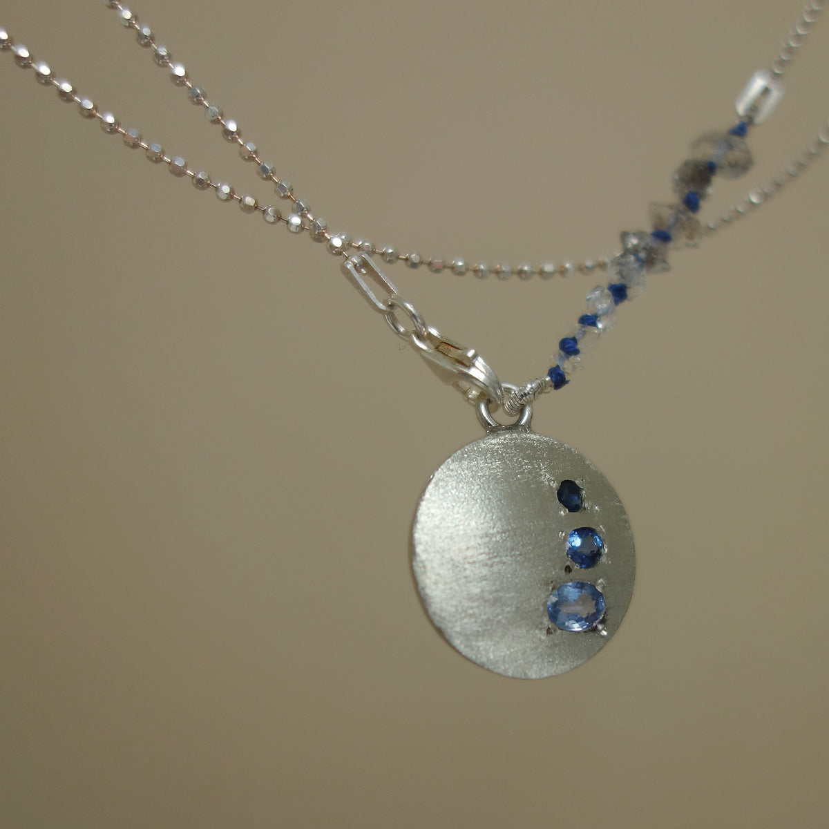 My Love Follows You Wherever You Go sapphire necklace