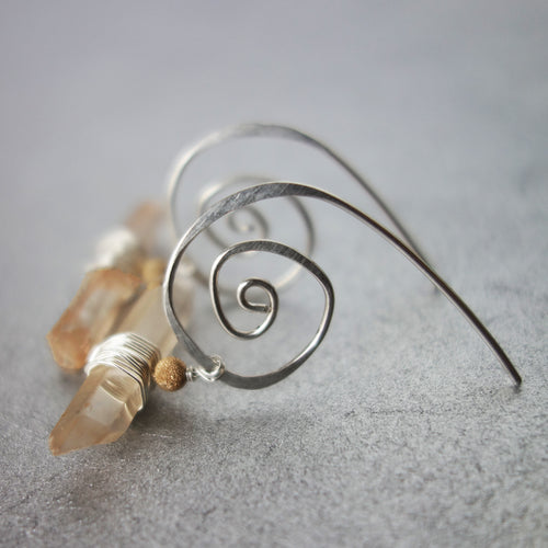 Natural Clear Quartz on Hand Hammered Silver earrings