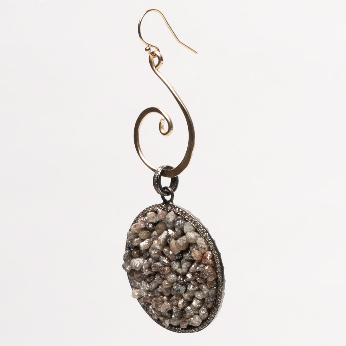 Raw Diamond and Hand Hammered Gold earring