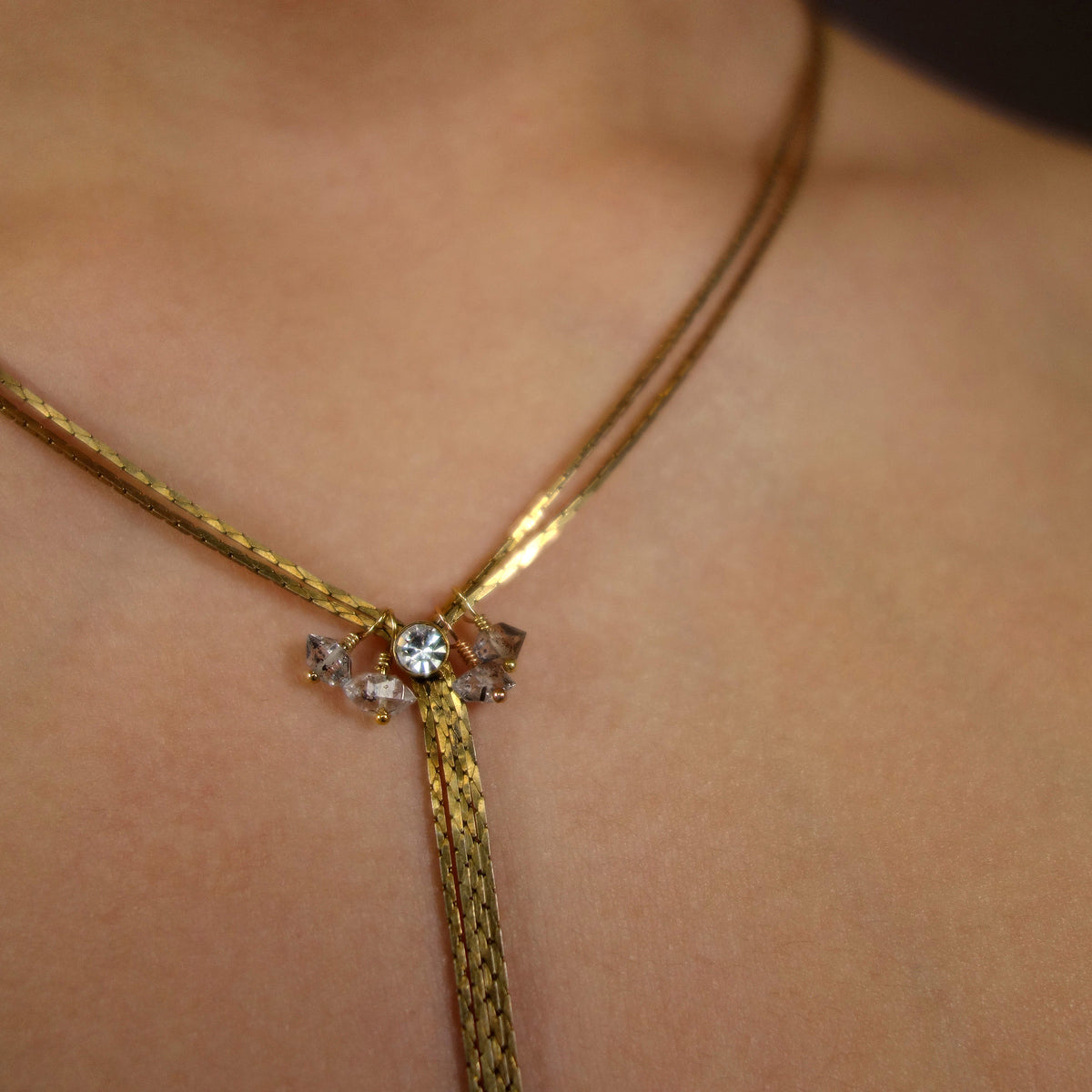 Starlight, Star Bright: gold and Herkimer diamond necklace