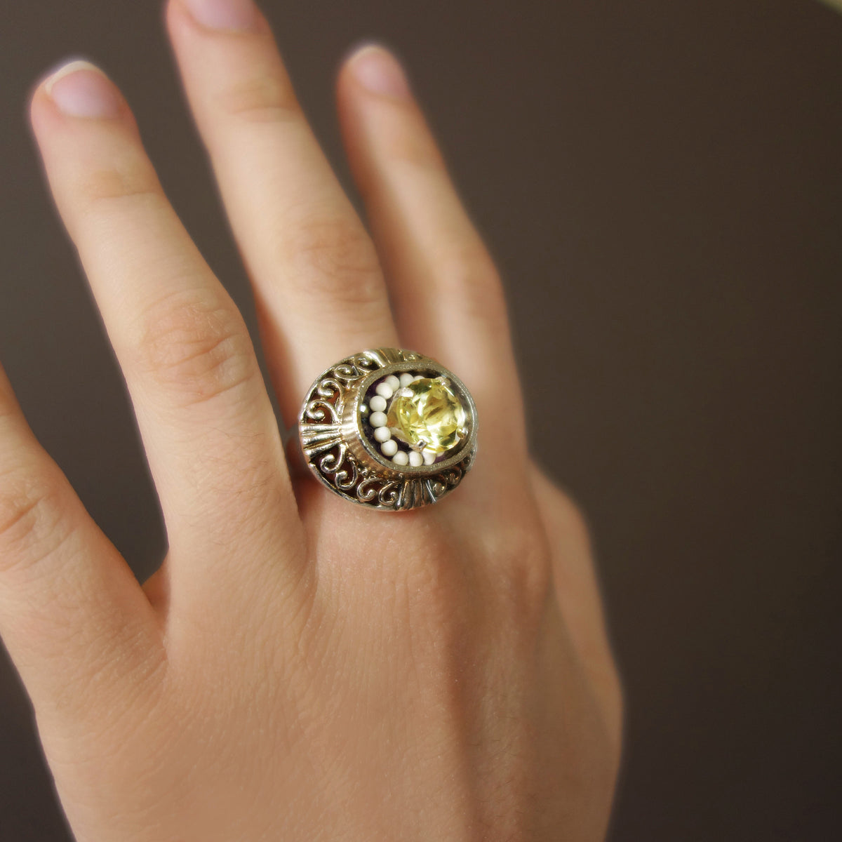 Citrine, Alabaster, and Crystal Quartz mosaic ring
