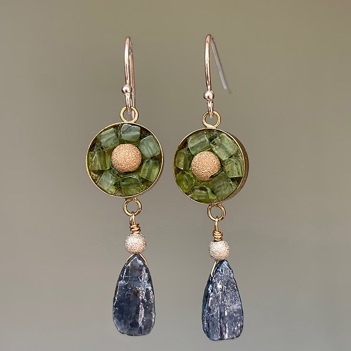 Gold, Peridot, and Kyanite mosaic earring