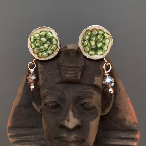 Peridot and Labradorite post earring