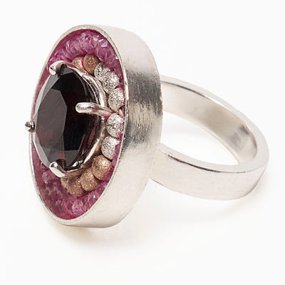 Crimson Nocturne (garnet, gold, and pink sapphire mosaic ring)
