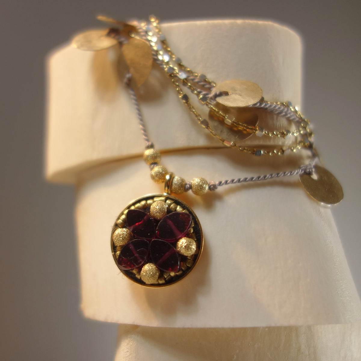 Make the Red Queen Jealous (garnet and gold mosaic necklace)