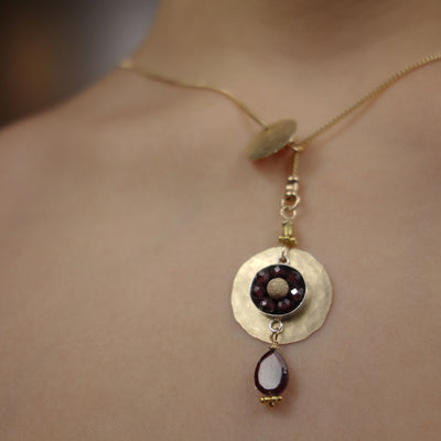Sleek and Chic (garnet mosaic slider necklace)