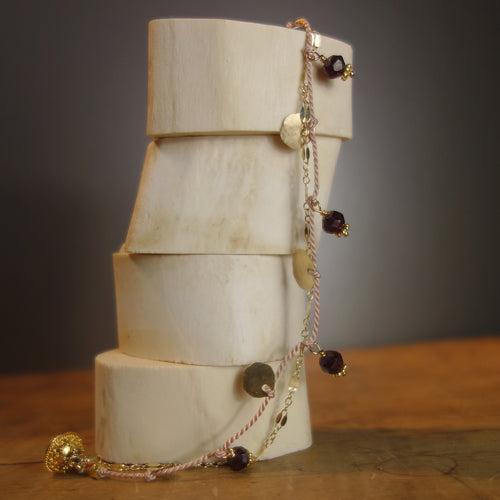2 strand silk and gold bracelet (faceted garnet)