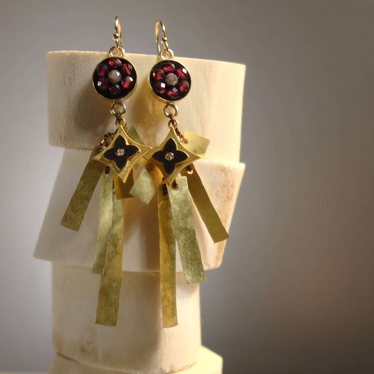And Yet, She Persisted (garnet, labradorite, gold and diamond earring)