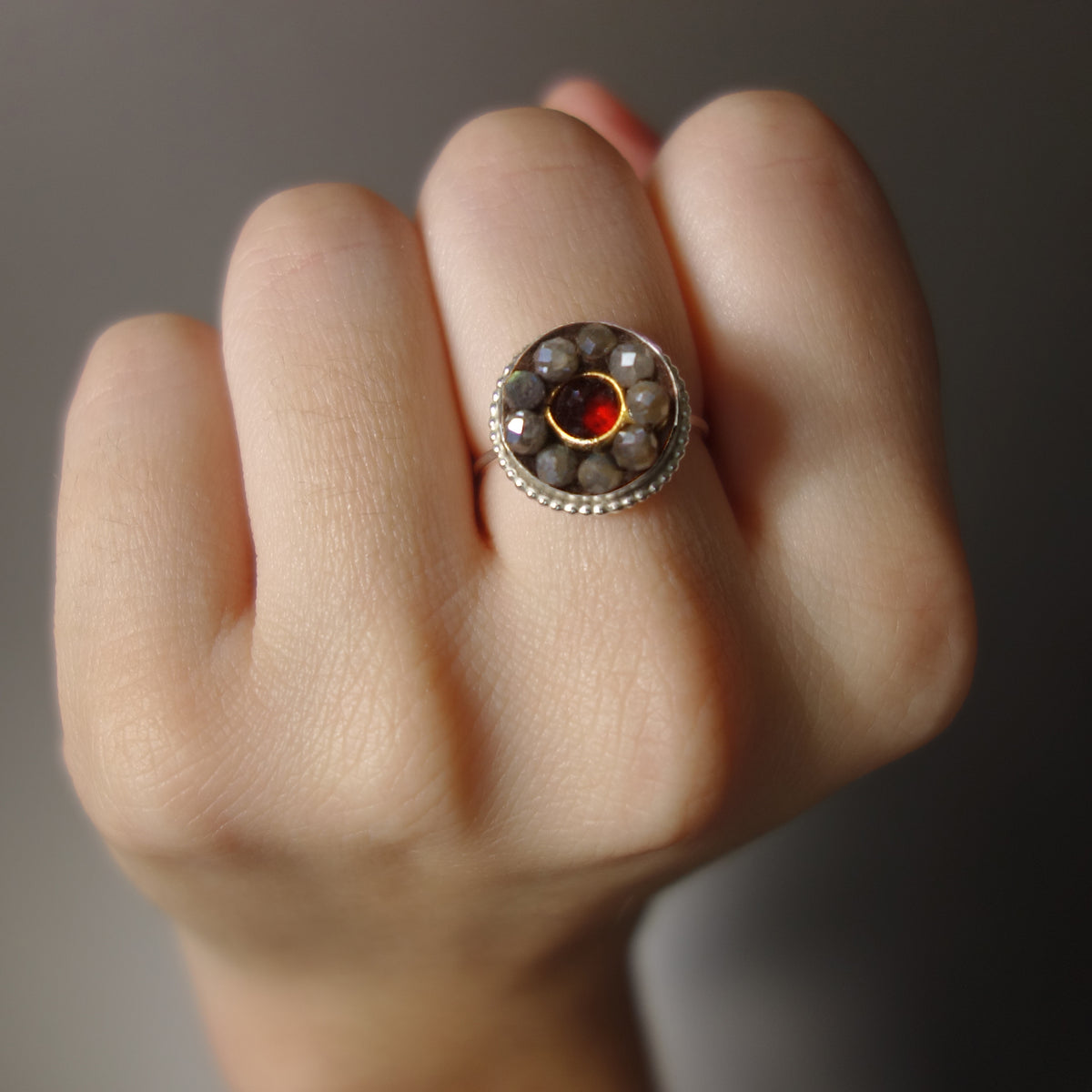 Sealed with a Kiss (garnet and labradorite mosaic ring)