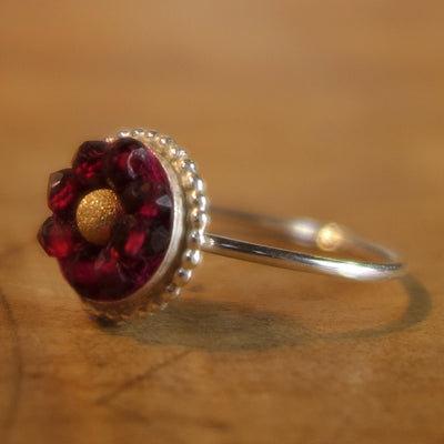 Sweet, Sassy Sophanista (gold and garnet mosaic ring)