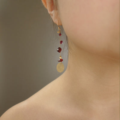Like Red on a Rose (garnet and gold on silk earring)