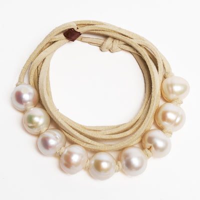 She Walks with Aphrodite: Pearls on Leather