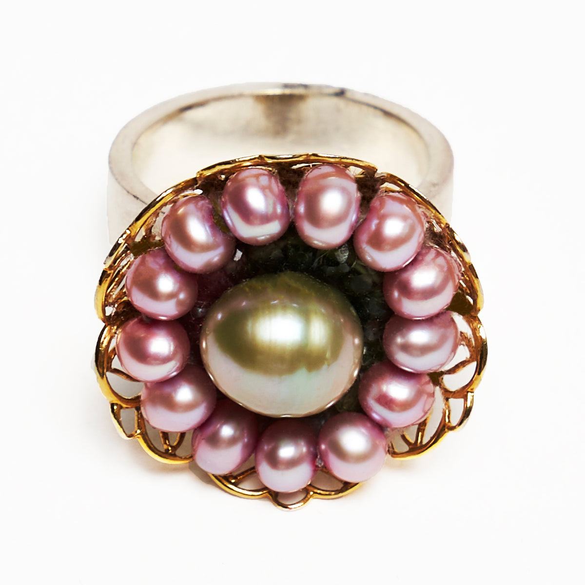 Pearl and Watermelon Tourmaline Mosaic Ring