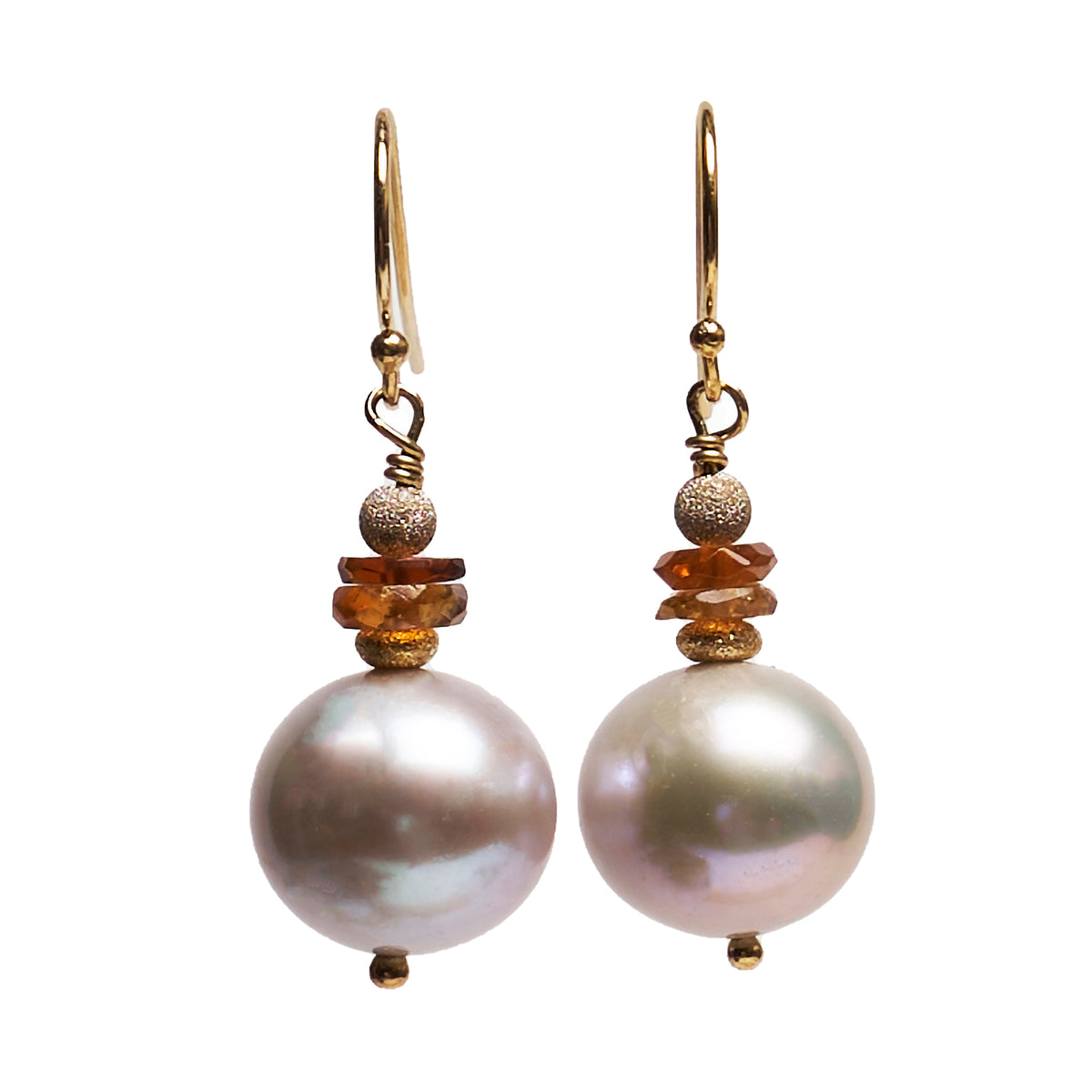 Pearl, Hessonite Garnet, Gold earring