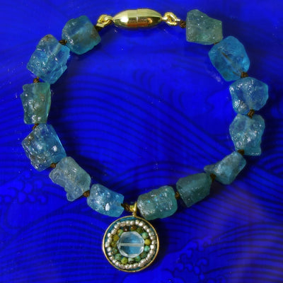 Listen to Your Inner Shell: raw apatite and aquamarine bracelet