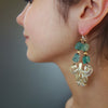 Sea of Love: raw apatite, gold, and hand made silver earring