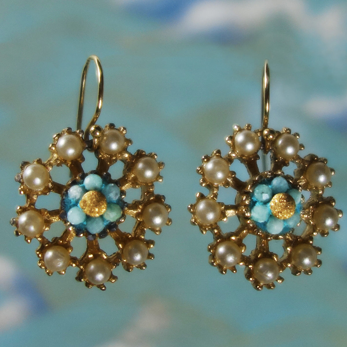 Siren's Symphony aquamarine, gold, and vintage pearl earrings