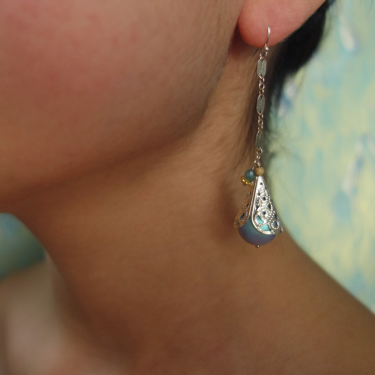 Dewy Drops: silver and aquamarine earrings