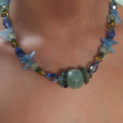 Ariel's Aria: faceted aquamarine and Roman glass necklace