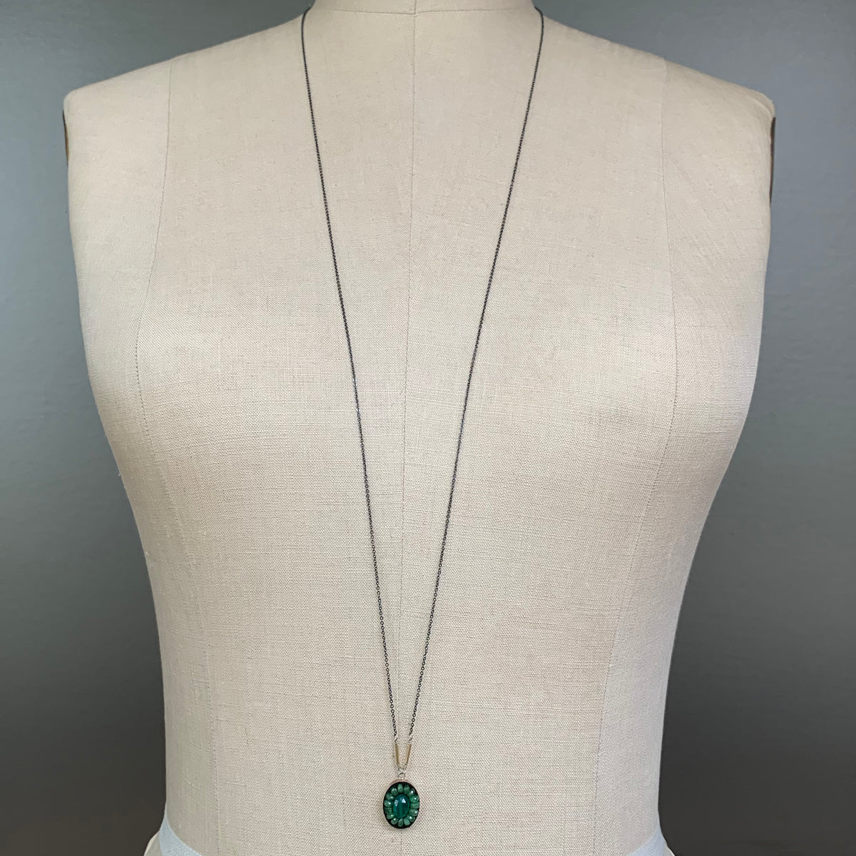Oval Emerald Mosaic Long Necklace