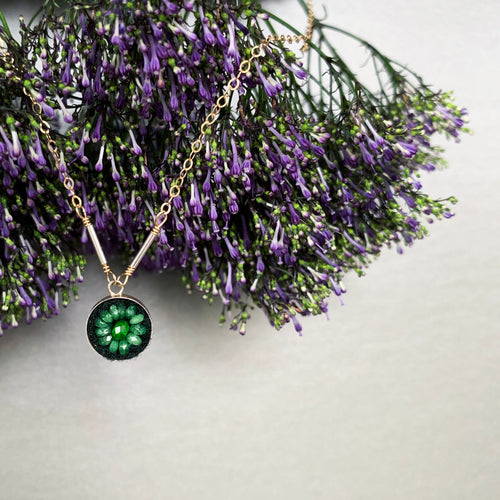 Emerald Mosaic on Gold necklace