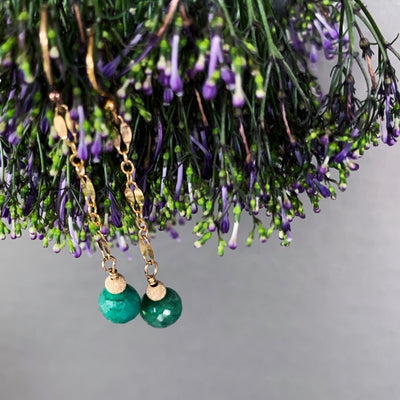 Faceted Emeralds Dancing on Gold Chain earrings