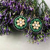 Emerald, Gold, and Silver Mosaic earrings