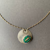 Emerald Mosaic on Hand Hammered Silver necklace