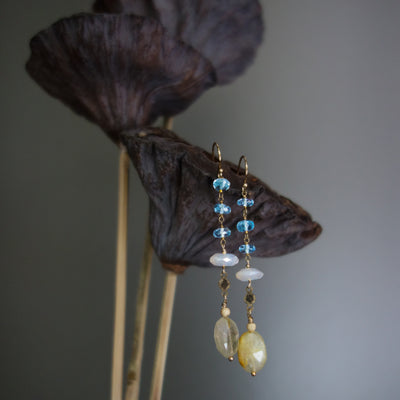 Golden Grace earring (blue topaz and gold)