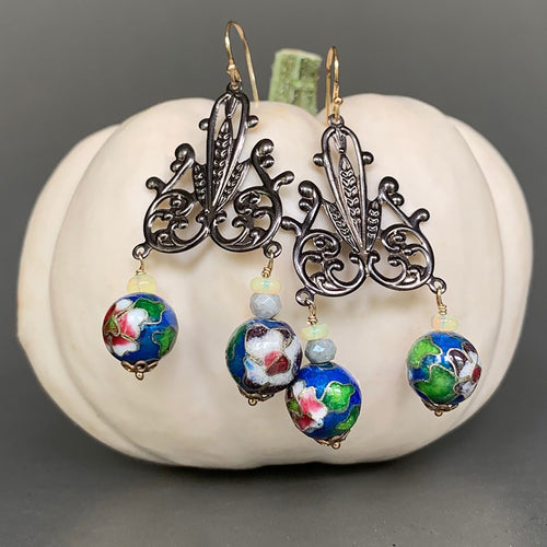 Cloisonné and Opal Chandelier Earrings (Wanderlust Paris)