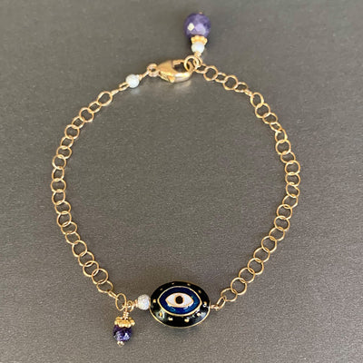 He Brings Me Tea at Night: enamel and gold bracelet