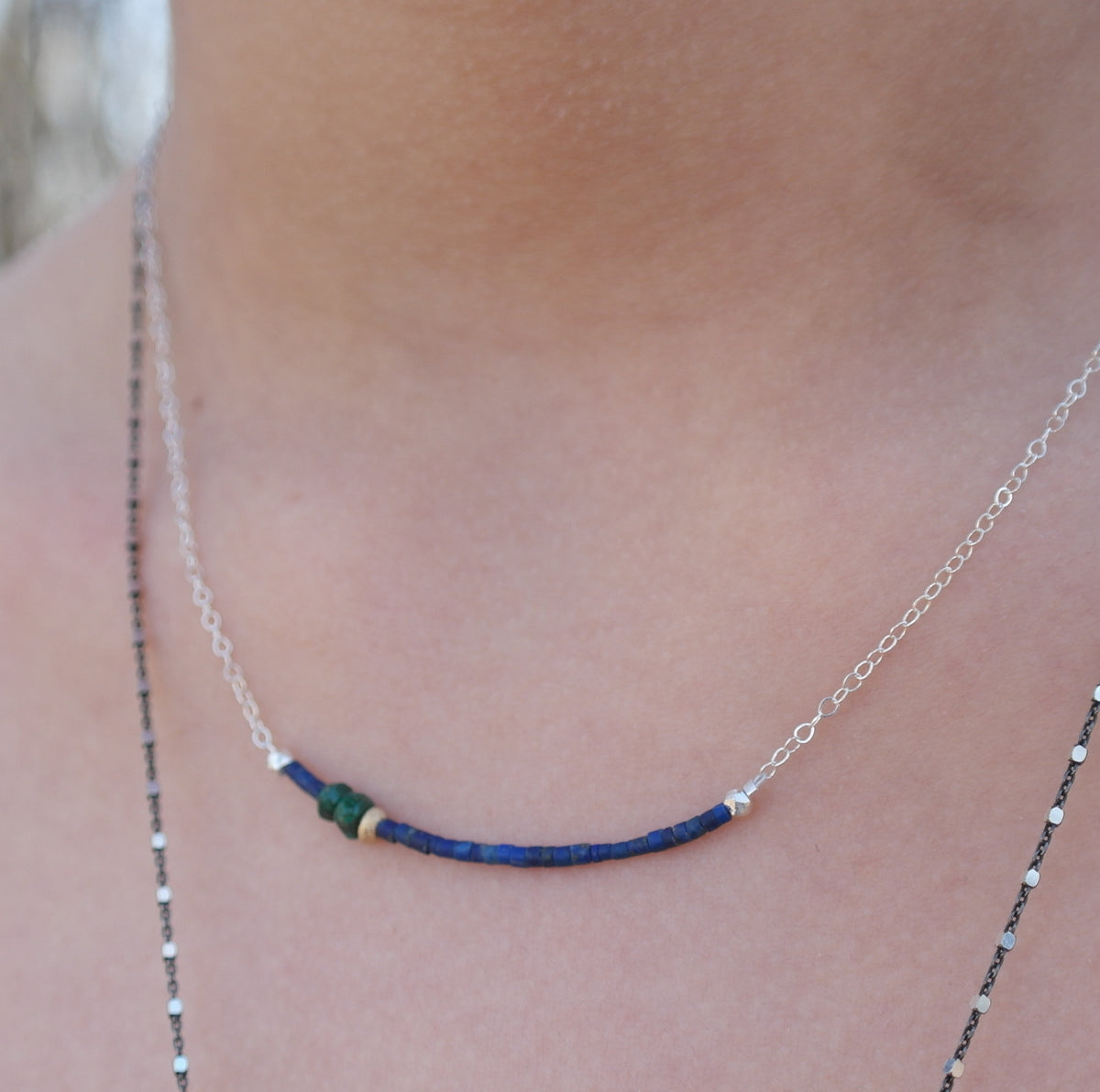 Matte Lapis Necklace with Gold and Malachite on Sterling Silver Chain