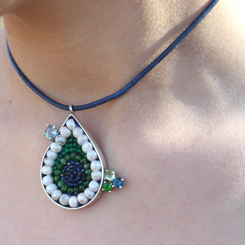 Blue Sapphire, Chrome Diopside, and White Sapphire Teardrop Necklace